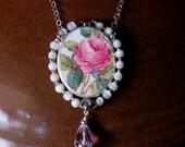 "Vintage Broken China Ceramic Shard Necklace, Sterling Silver, Mother of Pearl Beads, ""Billingsley Rose"" Pattern"