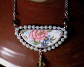 Vintage Broken China Ceramic Shard Necklace, Sterling Silver, Mother of Pearl Beads, Pretty Floral