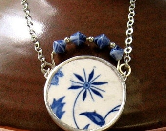 Vintage Broken China Ceramic Shard Necklace, Sterling Silver and Glass Beads , Timeless Japanese Pattern
