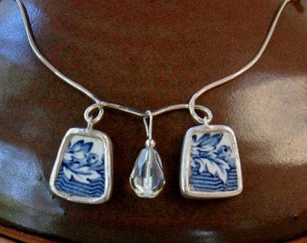 """Vintage Broken China Ceramic Shard Necklace, Sterling Silver, Crystal, Pretty """"Blue Willow"""" Pattern"""