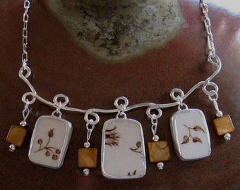 "Vintage Broken China Ceramic Shards Necklace, Sterling Silver, Beads, ""Autumn's Delight"""
