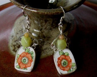 Vintage Broken China Ceramic Shards Earrings, Sterling Silver, Stone Beads,  Pretty Orange Flowers