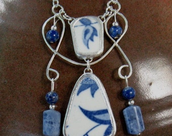 "Vintage Broken China Ceramic Shards Necklace, Sterling Silver, Stone Beads, ""Blue Onion"" Pattern"