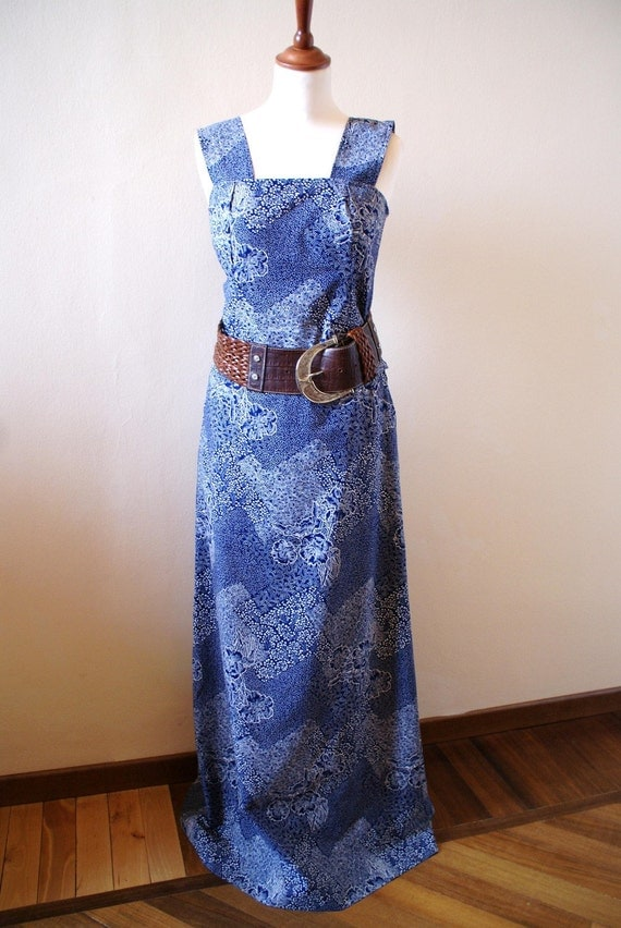 blue and white maxi skirt and matching top by