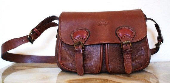 Mohogany Brown Leather Messenger Bag