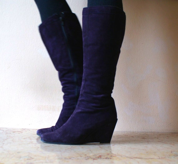 Deep Purple Suede Tall Wedge Boots 9
