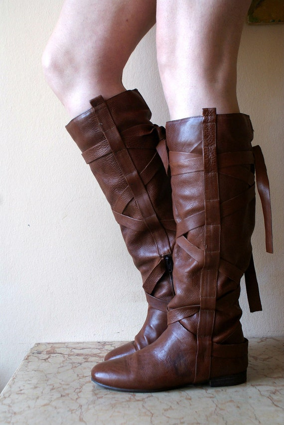 ON HOLD for  Monica Taormina Tobacco Brown Leather Tall Boots with Wrap around Leather Straps 9