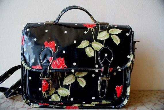 Polka Dot and Roses Laminated Fabric Messenger Bag