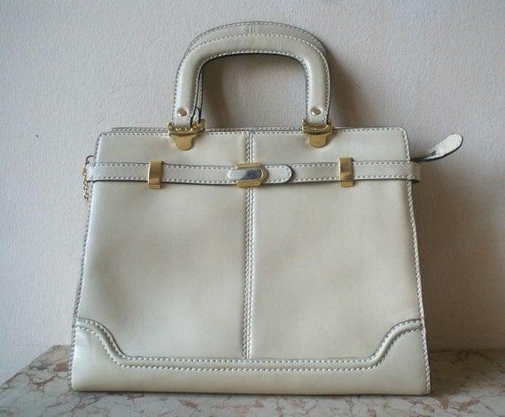 Italian Leather Cream Ladylike Large Handbag