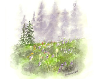 Mount Rainier Meadow with Wildflowers - Print