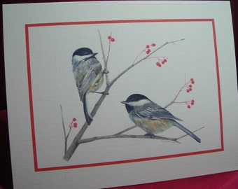 Pair of Chickadees - Set of 4 Notecards with Envelopes