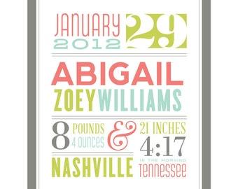 Birth Announcement Print - Personalized Nursery Wall Art Print