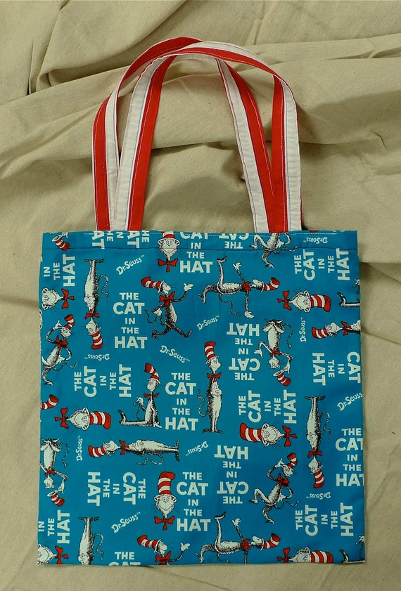 Cat in the Hat, Handmade Cotton Tote