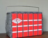 Vintage ice chest - tartan plaid with faux alligator skin pattern - metal - Flamingo - cooler - take to your next tailgate party