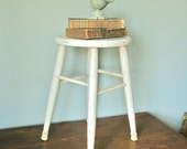 Vintage white painted country cottage stool - farmhouse chic