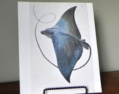 vintage Print book plate of a sea ray manta ray black blue sea creature