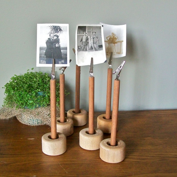 Picture holder made of vintage parts use for pictures  Postcard or Recipe menu cards table numbers Set of THREE