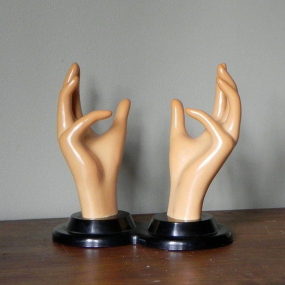 Plastic hands for jewelry display - geekery - cocoa colored