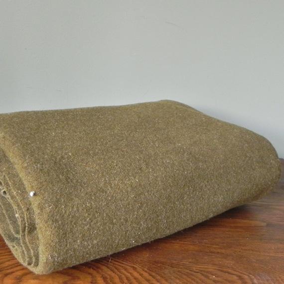 Vintage army green wool blanket