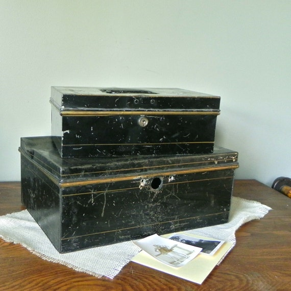 SALE Vintage strong boxes cash document box two black gold instant collection rustic bank box strong cash boxes