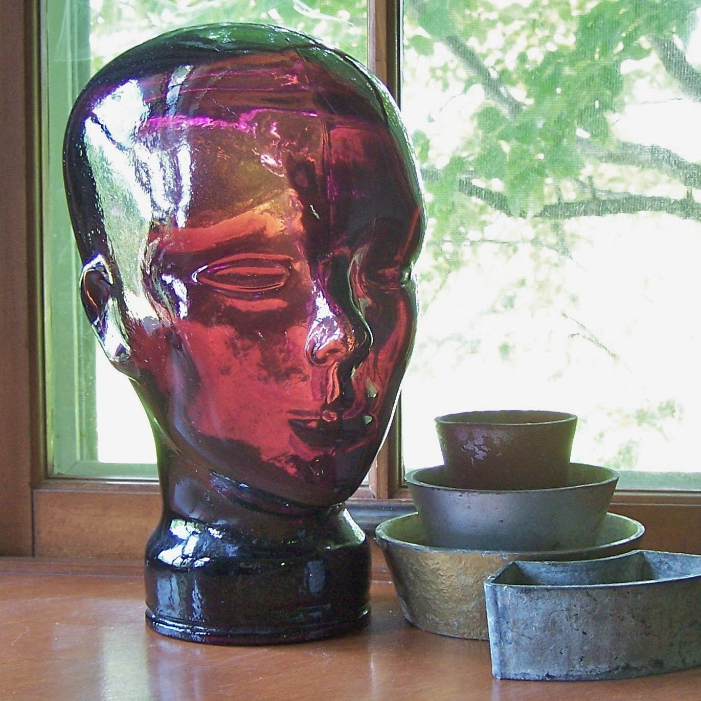 Vintage Amethyst Glass Head From The 1960s Purple