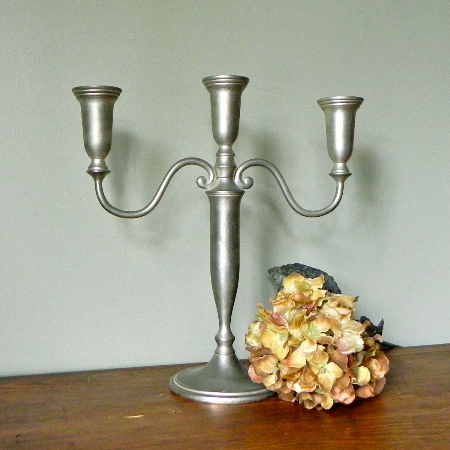 SALE Candle holder candelabra brushed nickel color heavy on Decorative Wall Sconces Candle Holders Chrome Nickel id=89950