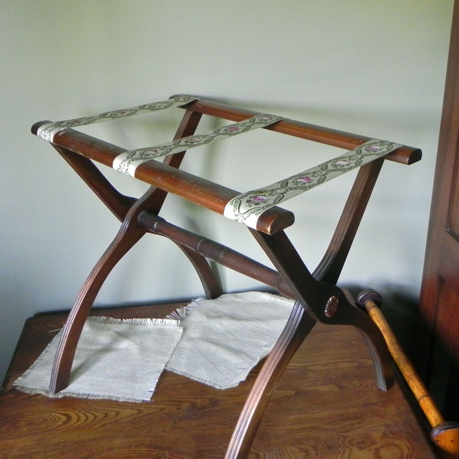 Vintage luggage rack stand tea table wood with tapestry