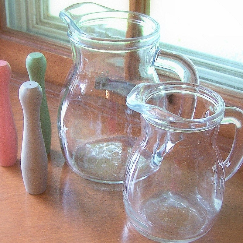 Italian Clear Glass Driveway: Vintage Clear Glass Italian Pitchers By Jollytimeone On Etsy