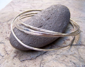 Sterling Silver Stacked Bangles