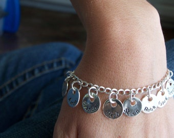 Mothers and Grandmothers Sterling Silver Personalized Charm Bracelet