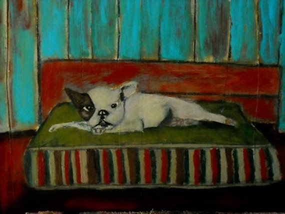 12x12 Original Acrylic Painting Dog Portrait, animal, bed, blue walls, French BullDog Grumpy Dog