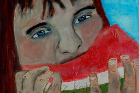 Acrylic Portrait Painting Little Red Haired Girl Eating Watermelon Original birch plywood
