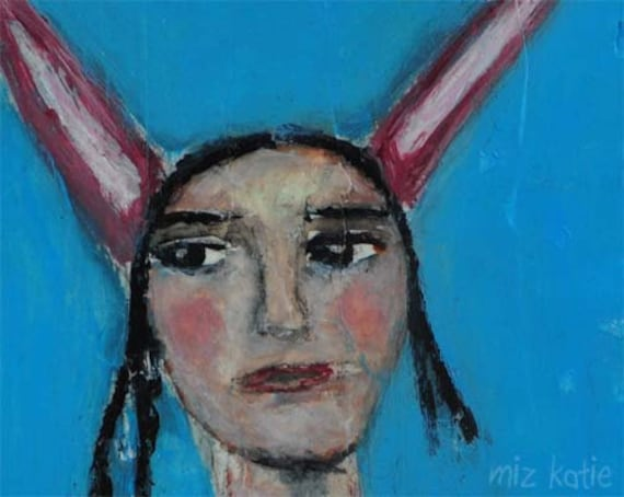 Her Friends Call Her Bunny - original mixed media 5x7 painting