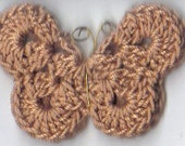 Medium Brown Crochet Butterfly Applique