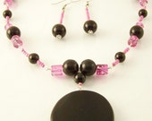 Pink and Black Nedklace and Earring Set