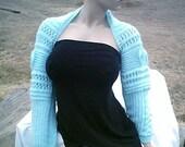 Hand Knit Aqua Bridal Shrug in M/L