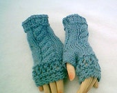 Victoria Open Lace Fingerless Gloves in Country Blue