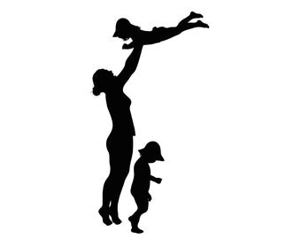 Custom Silhouette Print - Mother (or Father) and Children