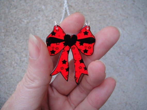 MINI Red and Black Stars Bow Necklace