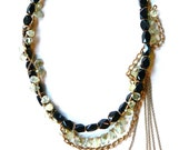 Green, Black & Gold Chain Gemstone Necklace
