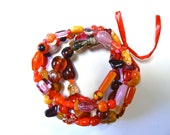 Mixed Color Red Glass Beaded Bracelet Set