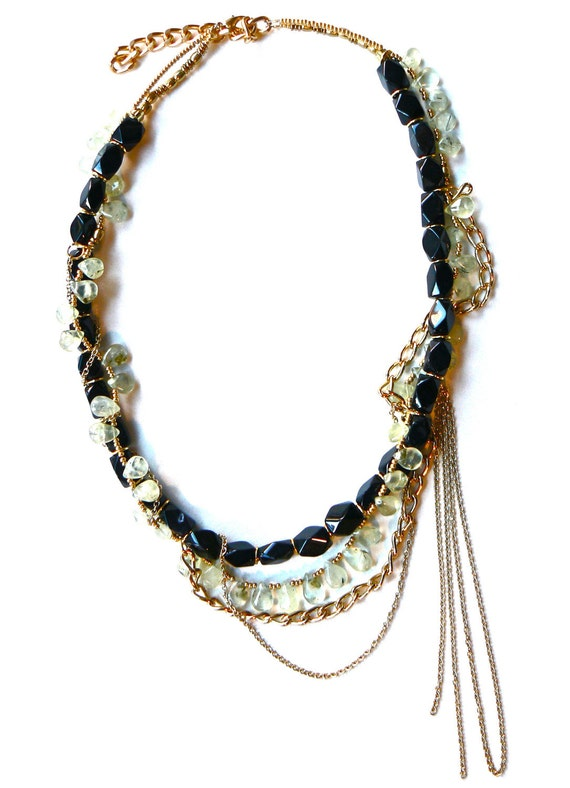 Green, Black & Gold Chain Gemstone Necklace