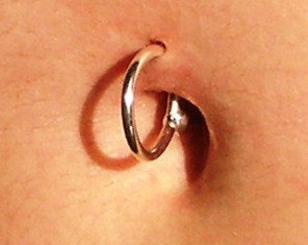 10mm -- 14k YELLOW over Solid Fine Silver Belly-Button Ring 14 gauge