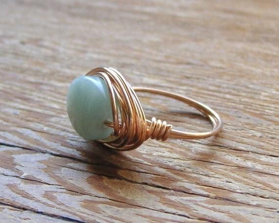 Amazonite Bronze Wire Ring -- Size 6.5