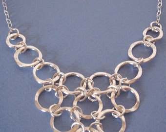 Linked Hammered Silver Rings Neckpiece