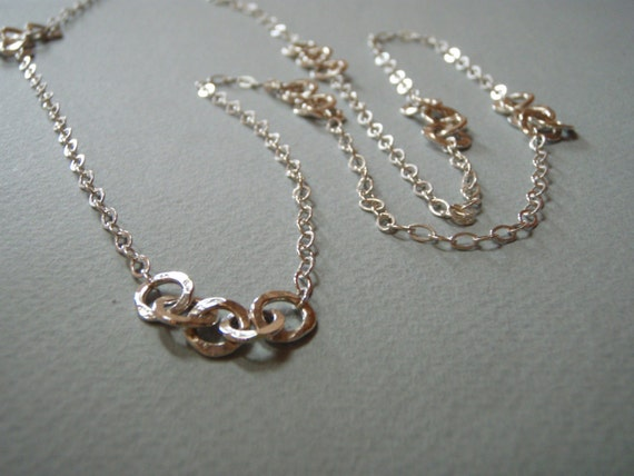Chic Chain of Hammered Silver Links and Chain