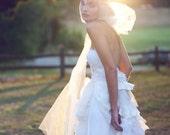 Bohemian Wedding Gown- Some Kind of Wonderful  - Full Princess Pearls Blush Ruffle Train Wedding Dress