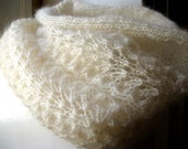 Romantic lacey knit cowl. soft hazy mohair blend in ivory