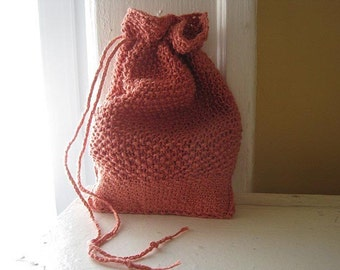 Drawstring Rune Bag. Knit pouch holds stones, small cards, ritual items