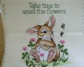 Completed cross stitch - Take time to smell the flowers - rabbit